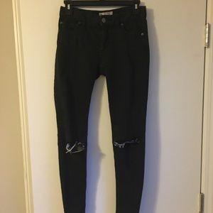 Free People Busted Knee Skinny Jeans Black 24